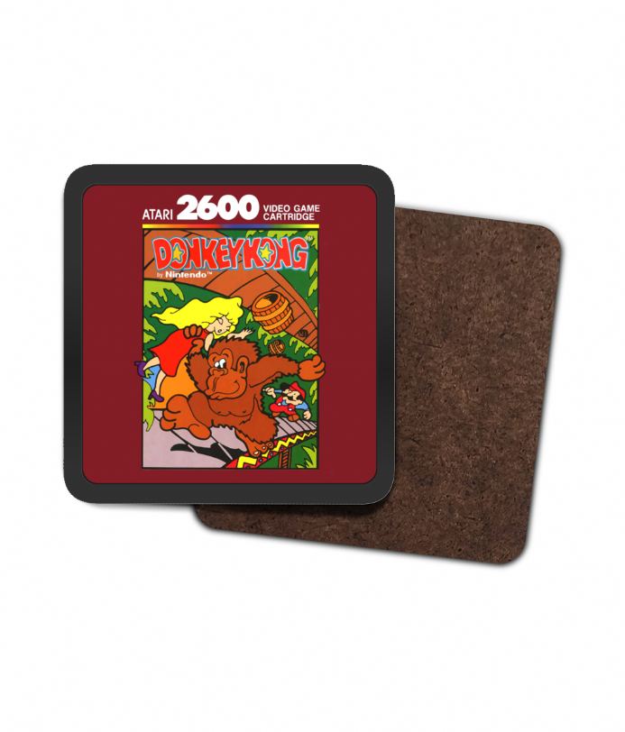 Donkey Kong Atari 2600 Cartridge Design Single Hardboard Coaster